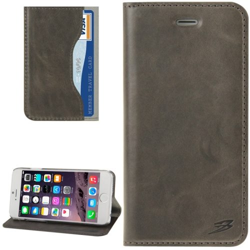 FADDIST Waxing Genuine Cow Flip Leather Case for iPhone 6 with Holder & Card Slot (Grey)