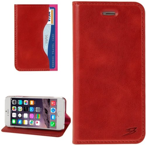 FADDIST Waxing Genuine Cow Flip Leather Case for iPhone 6 with Holder & Card Slot (Red)