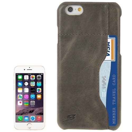 FADDIST Waxing Genuine Cow Flip Leather Case for iPhone 6 with Card Slot (Grey)