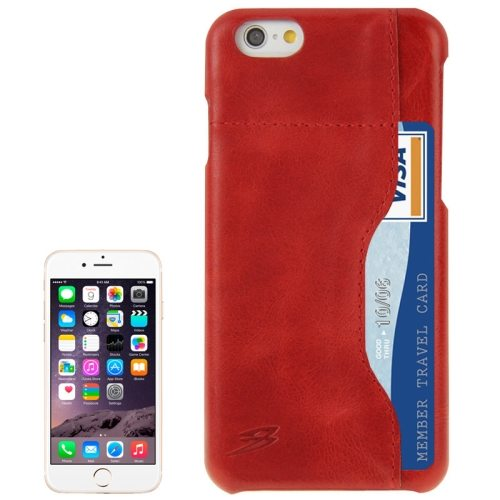 FADDIST Waxing Genuine Cow Flip Leather Case for iPhone 6 with Card Slot (Red)