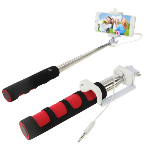 GoShot Wired 3.5mm Audio Cable Extendable Handheld Selfie Stick Monopod for Mobile Phone (Red)