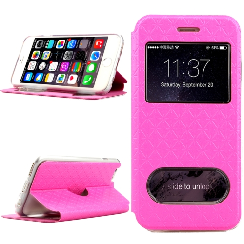 Diamond Pattern Flip Leather Case for iPhone 6 4.7 Inch with Caller ID Display Window (Rose)
