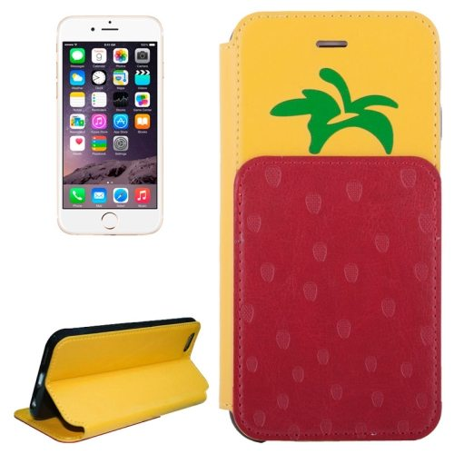 Strawberries Pattern Flip Leather Case for iPhone 6 with Card Slots (Yellow)