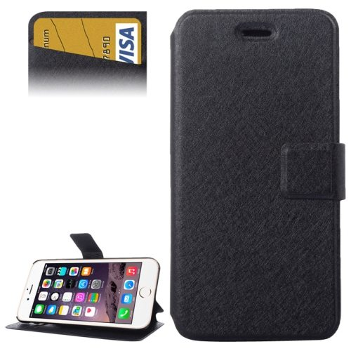 Silk Texture Horizontal Flip Leather Wallet Case for iPhone 6 with Card Slot (Black)