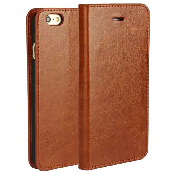 Crazy Horse Texture Flip Genuine Leather Cover for iPhone 6 (Light Brown)