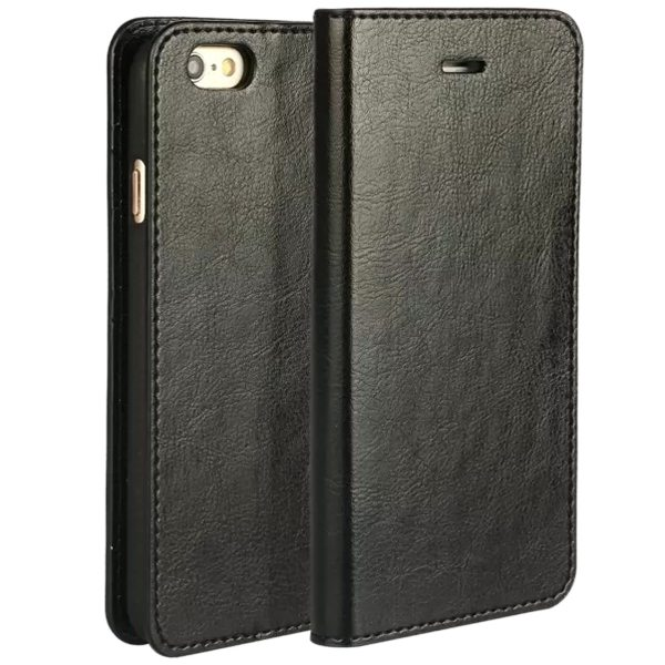 Crazy Horse Texture Flip Genuine Leather Cover for iPhone 6 (Black)