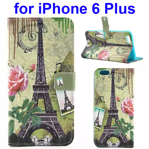 Colored Drawing Style Flip Wallet Leather Cover for iPhone 6 Plus with Holder (Tower)