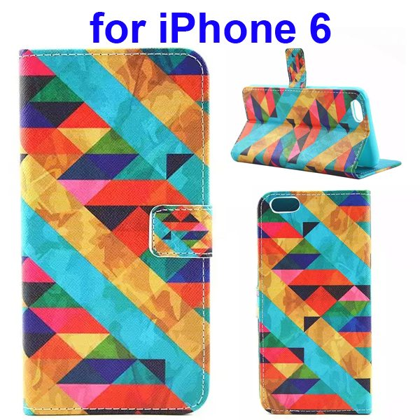 Colored Drawing Style Flip Wallet Leather Cover for iPhone 6 with Holder ( Triangle)