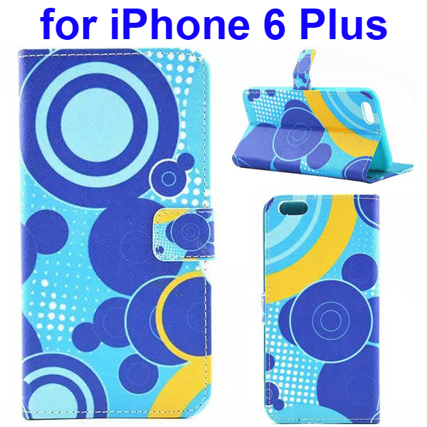Colored Drawing Style Flip Wallet Leather Cover for iPhone 6 with Holder (Blue Circle)