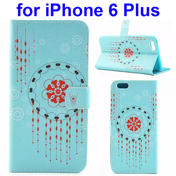 Colored Drawing Style Flip Wallet Leather Cover for iPhone 6 with Holder (Curtain)