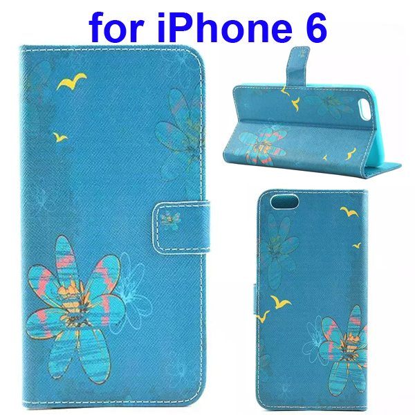 Colored Drawing Style Flip Wallet Leather Cover for iPhone 6 with Holder (Bird and Flower)
