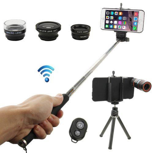 8X Mobile Telephoto Lens + 180 Degree Fisheye Lens + Marco Lens + 0.65X Wide Lens + Selfie Monopod + Shutter Remote Kit with Tripod & Phone Case for iPhone 6 (Black)
