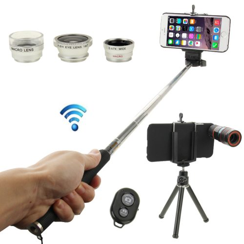 8X Mobile Telephoto Lens + 180 Degree Fisheye Lens + Marco Lens + 0.65X Wide Lens + Selfie Monopod + Shutter Remote Kit with Tripod & Phone Case for iPhone 6 (Silver)