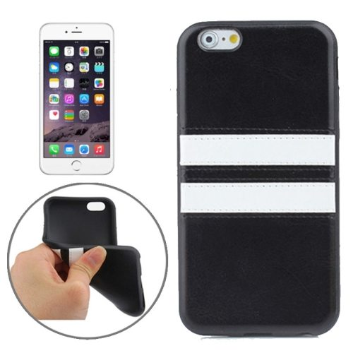 New Pattern Protective PU Leather Coated TPU Skin Case for iPhone 6 (Black)