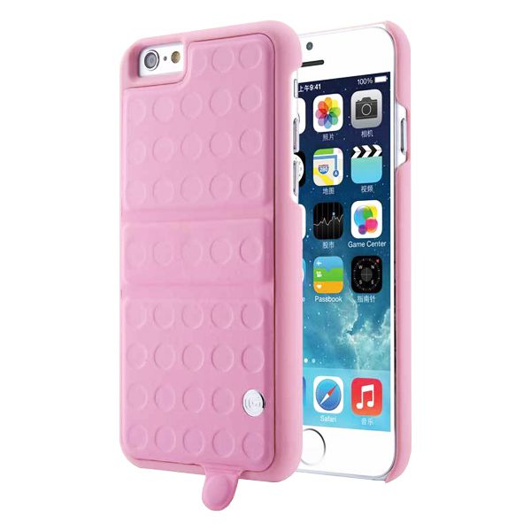 360 Degree Rotatable Kickstand Mirror Style PU Leather and PC Protective Case for iPhone 6 (Pink)