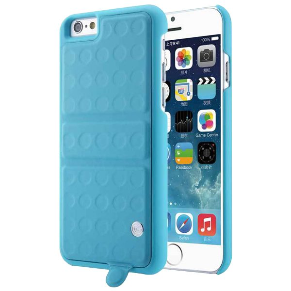 360 Degree Rotatable Kickstand Mirror Style PU Leather and PC Protective Case for iPhone 6 (Blue)