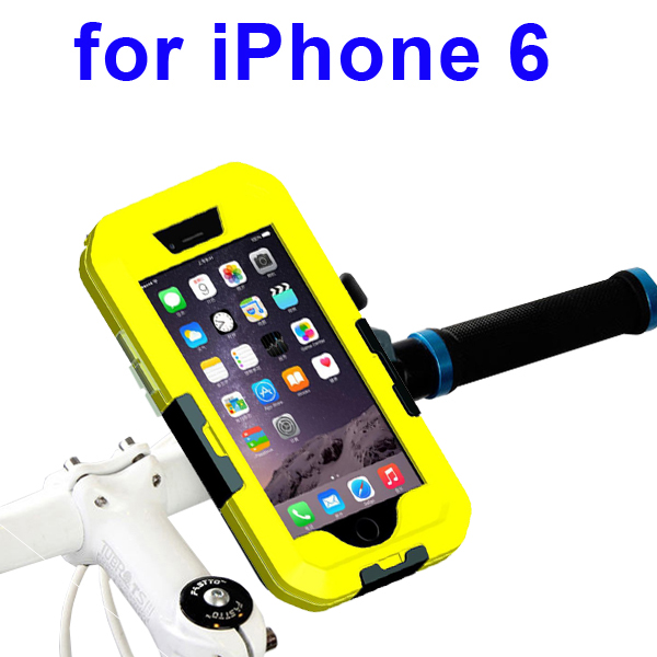 Newest Item Outdoor Sports Waterproof Case Bike Mount Holder for iPhone 6 (Yellow)