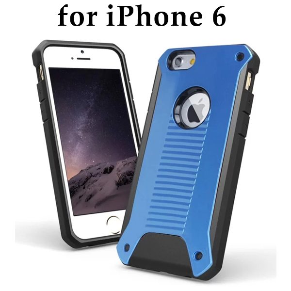 New Design TPU and Hard Plastic Shockproof Rugged Armor Hybrid Cover for iPhone 6 (Blue)