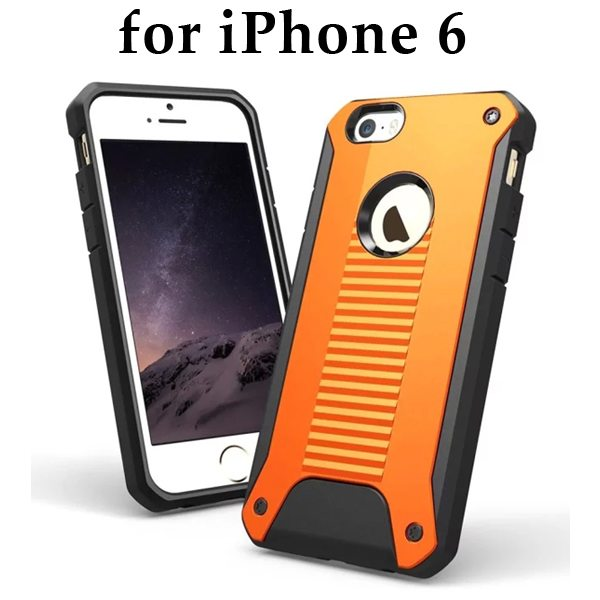 New Design TPU and Hard Plastic Shockproof Rugged Armor Hybrid Cover for iPhone 6 (Orange)