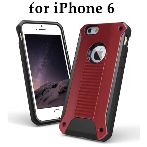 New Design TPU and Hard Plastic Shockproof Rugged Armor Hybrid Cover for iPhone 6 (Red)
