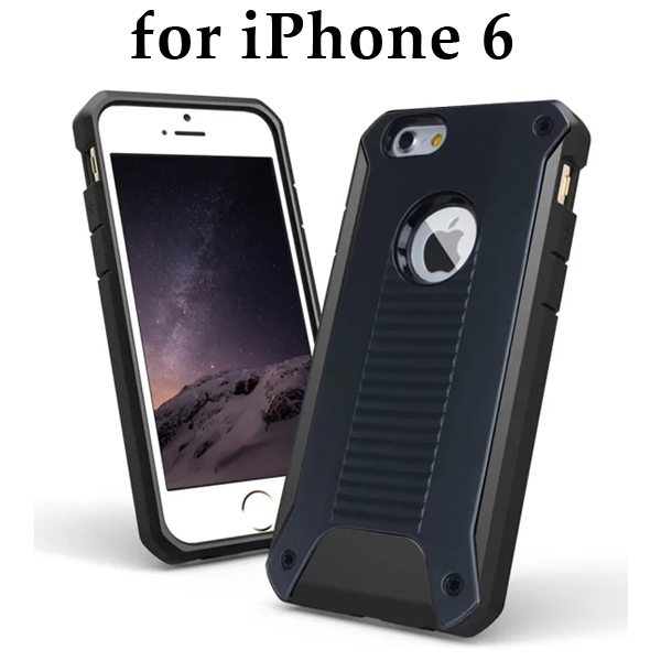 New Design TPU and Hard Plastic Shockproof Rugged Armor Hybrid Cover for iPhone 6 (Black)