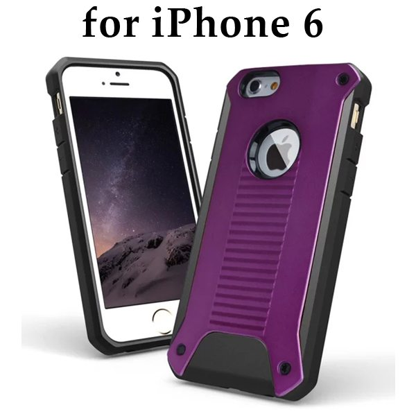 New Design TPU and Hard Plastic Shockproof Rugged Armor Hybrid Cover for iPhone 6 (Purple)