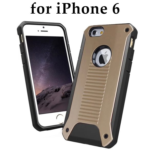 New Design TPU and Hard Plastic Shockproof Rugged Armor Hybrid Cover for iPhone 6 (Brown)