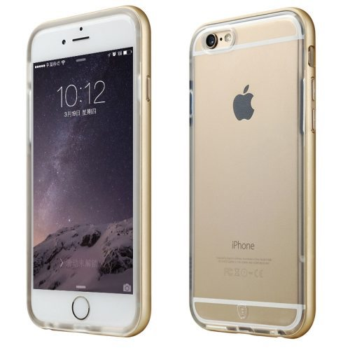 Premium Quality Metal Frame Soft TPU Protective Cover for iPhone 6 (Golden)