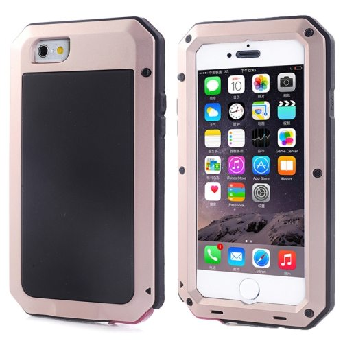 Protective Metal Armor Pattern Dustproof Shockproof Waterproof Case for iPhone 6 (Beige)