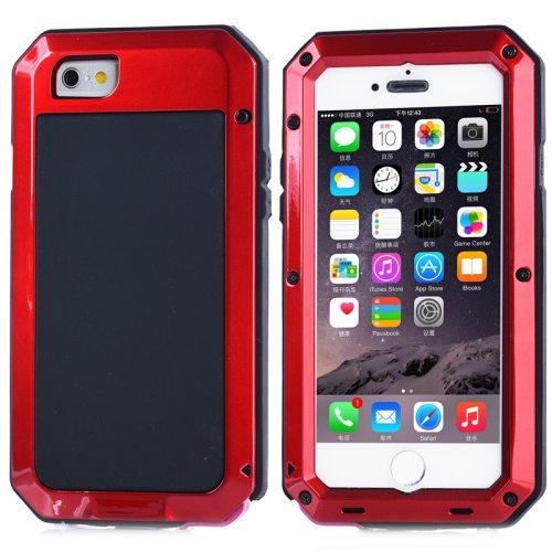 Protective Metal Armor Pattern Dustproof Shockproof Waterproof Case for iPhone 6 (Red)