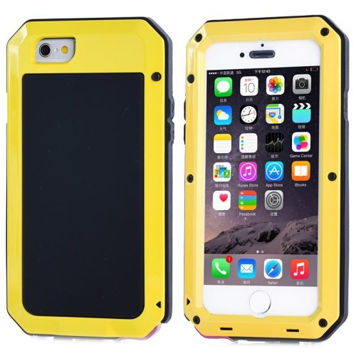 Protective Metal Armor Pattern Dustproof Shockproof Waterproof Case for iPhone 6 (Yellow)
