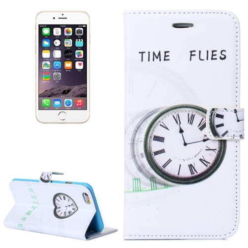 Color Painting Texture Flip Wallet PU Leather Cell Phone Case Cover for iPhone 6 Plus (Watch)
