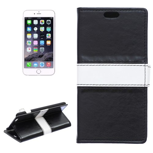 Mix Color Crazy Horse Texture Horizontal Flip Leather Wallet Case for iPhone 6 (Black)