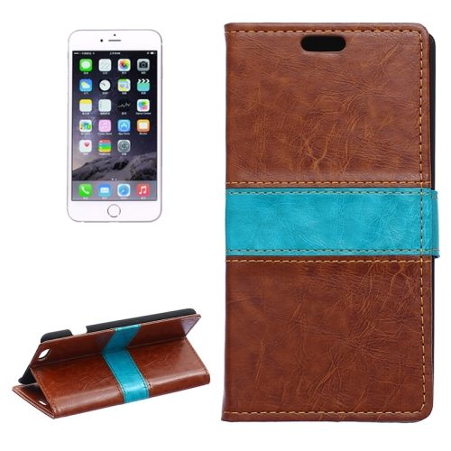 Mix Color Crazy Horse Texture Horizontal Flip Leather Wallet Case for iPhone 6 (Brown)