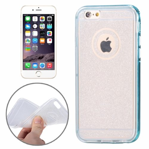 Mobile Accessories Glittering TPU Transparent Protective Case for iPhone 6 (Blue)