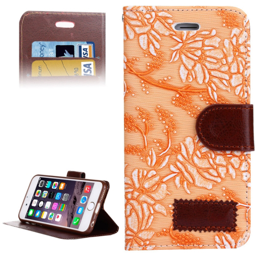 Grape Texture Horizontal Flip Leather Case for iPhone 6 with Card Slots & Holder (Orange)