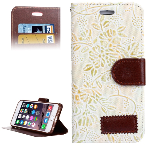 Grape Texture Horizontal Flip Leather Case for iPhone 6 with Card Slots & Holder (White)