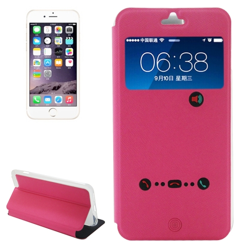 Caller ID Display Window Design Flip PU Leather Cell Phone Case Cover for iPhone 6 (Rose)