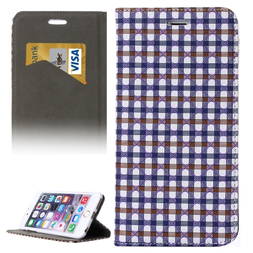 Colorful Grid Pattern Flip Wallet Style PU Leather Cell Phone Case Cover for iPhone 6 (Purple+Brown)