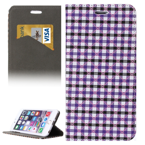 Colorful Grid Pattern Flip Wallet Style PU Leather Cell Phone Case Cover for iPhone 6 (Purple+Black)