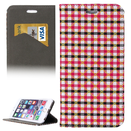 Colorful Grid Pattern Flip Wallet Style PU Leather Cell Phone Case Cover for iPhone 6 (Rose+Black)