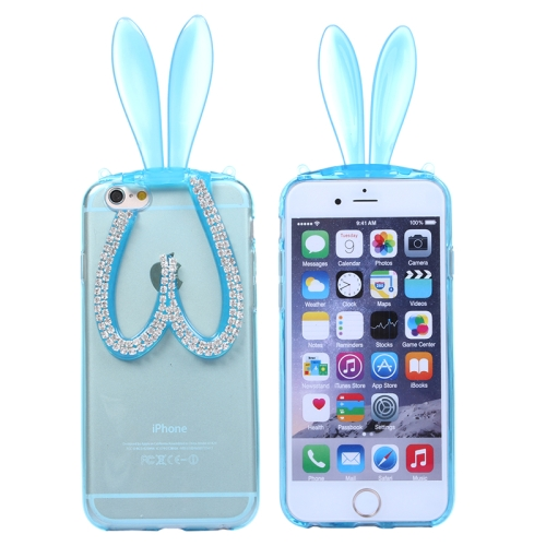 3D Folding Diamond-Encrusted Rabbit Ear Pattern Protective Cute TPU Case for iPhone 6 (Blue)
