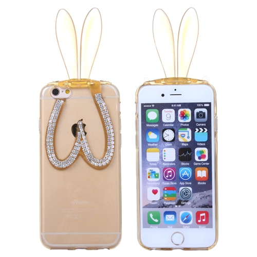 3D Folding Diamond-Encrusted Rabbit Ear Pattern Protective Cute TPU Case for iPhone 6 (Yellow)