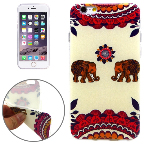 National Style Elephants Pattern Soft TPU Protective Case for iPhone 6