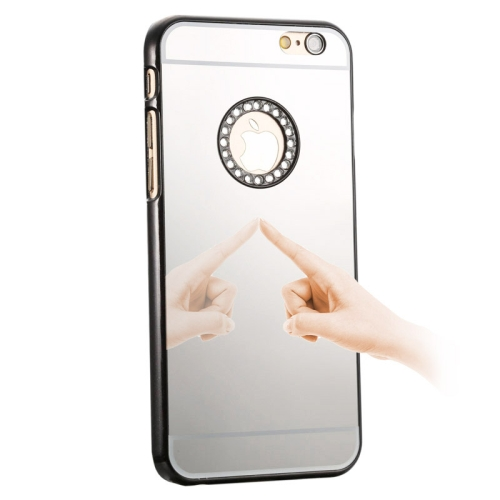 Mirror Design PC Hard Case for iPhone 6 with Rhinestone Embedded (Black)