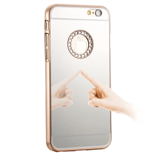 Mirror Design PC Hard Case for iPhone 6 with Rhinestone Embedded (Gold)