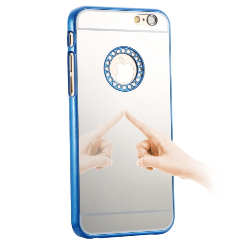 Mirror Design PC Hard Case for iPhone 6 with Rhinestone Embedded (Blue)