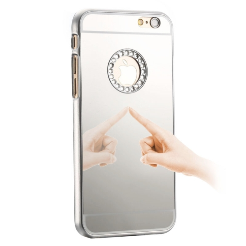 Mirror Design PC Hard Case for iPhone 6 with Rhinestone Embedded (Silver)