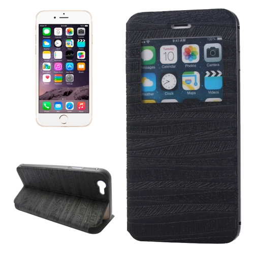 2 in 1 Metal Bumper Frame Leather Case for iPhone 6 with Caller ID Display (Black)
