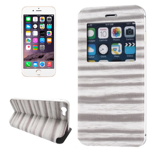 2 in 1 Metal Bumper Frame Leather Case for iPhone 6 with Caller ID Display (Grey)